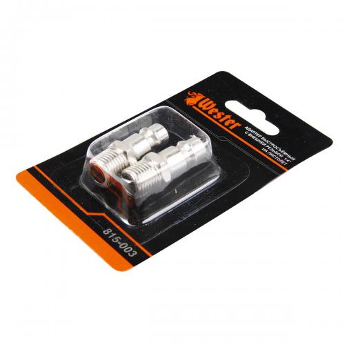 Адаптеры WESTER 815-003 ЕВРО, 1/4'' пневмо, быстросъемные на пистолет (набор 2 шт)